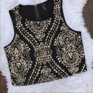 Forever 21 Gold Sequin Top Tank Crop Sleeveless